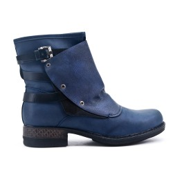 Blue ankle boot with faux leather back