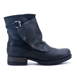 Black ankle boot with faux leather back