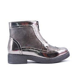 Silver zipped ankle boot
