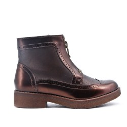 Bottine zippé bronzé en simili cuir