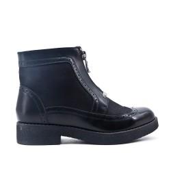 Bottine zippé noire en simili cuir