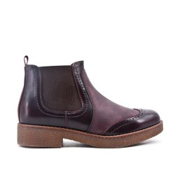 Burgundy imitation leather ankle boot with elastic inset