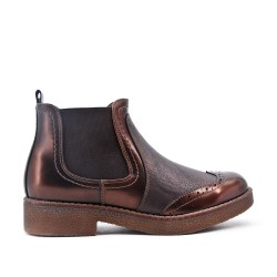 Tan leather ankle boot with elastic panel