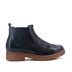 Black imitation leather ankle boot with elastic inset