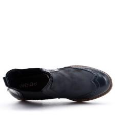 Bottine noire en simili cuir avec empiècement élastique