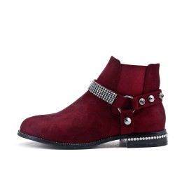 Red suede ankle boot with rhinestone straps