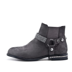 Gray suede ankle boot with rhinestone straps