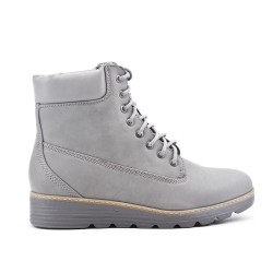 Gray comfort boot with lace