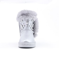 Filled girl's beaded silver boot
