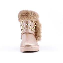 Furry golden girl beaded boot