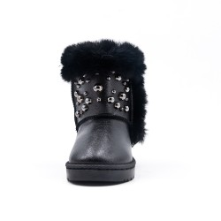 Furry black girl beaded boot