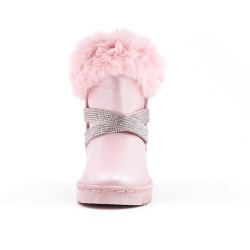 Pink girl's boot with strass adorned with rhinestones