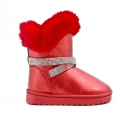 Red girl's boot with strass adorned with rhinestones