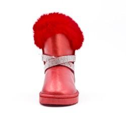 Bottine fille rouge avec bride ornée de strass