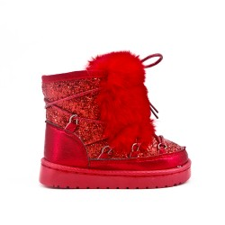 Red sequined girl boot with fur
