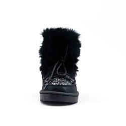 Black sequined girl boot with fur