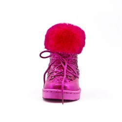 Fuchsia girl lace-up boot with lace