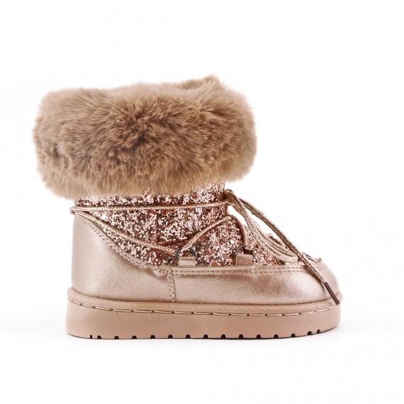 arrive meilleures chaussures Achat Botte fourrée fille doré à lacet