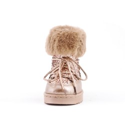 Golden girl's fur boot with lace