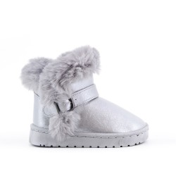 Furry boot girl silver