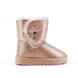 Furry golden girl boot with flower