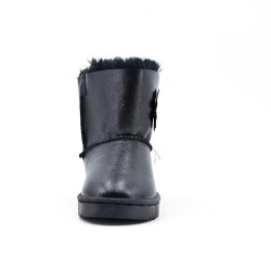 Furry black girl boot with flower