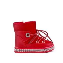 Bota peluda de niña roja con suela adornada con pedrería