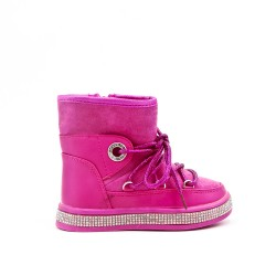 Fuchsia girl lined boot with sole embellished with rhinestones