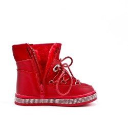 Furry red girl boot with sole embellished with rhinestones