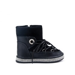 Furry black girl boot with sole embellished with rhinestones