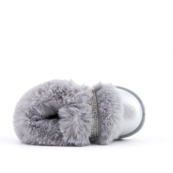 Furry gray shoe for girls