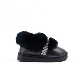 Chaussure noire fourrée fille