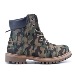 Military green boot with lace fur