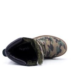 Botte verte militaire avec fourrure à lacet