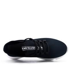 Basket noire en textile extensible à lacet
