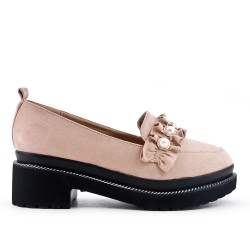 Beige loafer with flounce and small heel