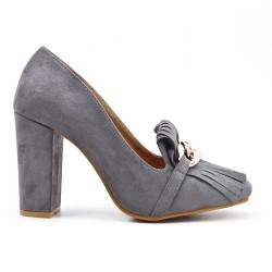 Gray bikini with high heels