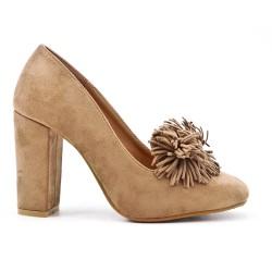 Khaki pompon pump with high heel