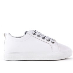 White faux leather lace-up basket