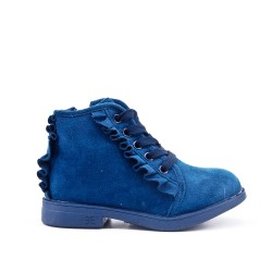 Blue girl boot with ruffle