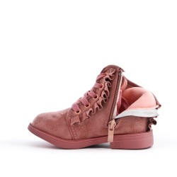 Pink girl boot with ruffle