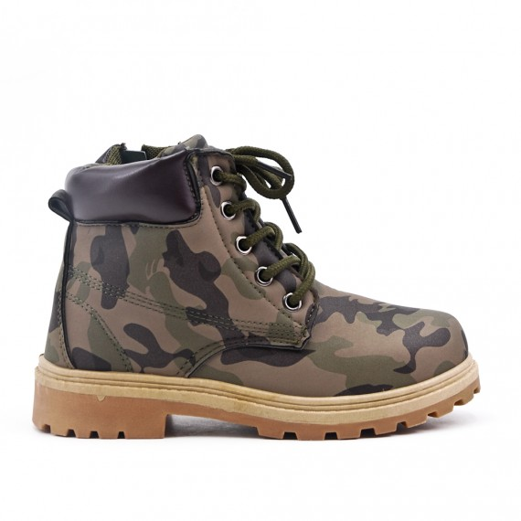 Green military child boot with lace