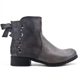 Gray ankle boot with ribbon on the back