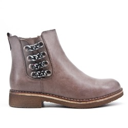 Taupe leather ankle boot