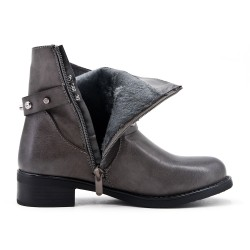 Gray ankle boot with studded flange