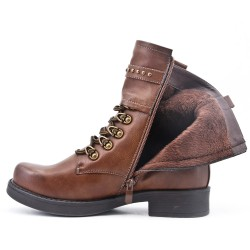 Brown faux leather boot with lace