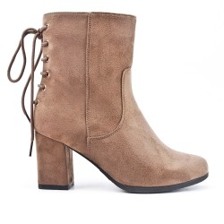 Khaki ankle boot in faux suede with heel