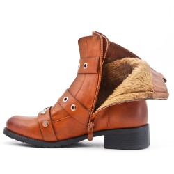 Camel ankle boot with studded flange