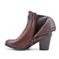 Brown ankle boot in faux leather with heel