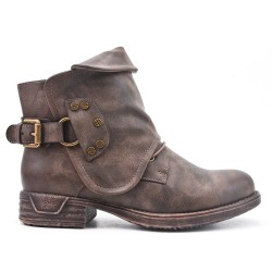 Khaki leather ankle boot
